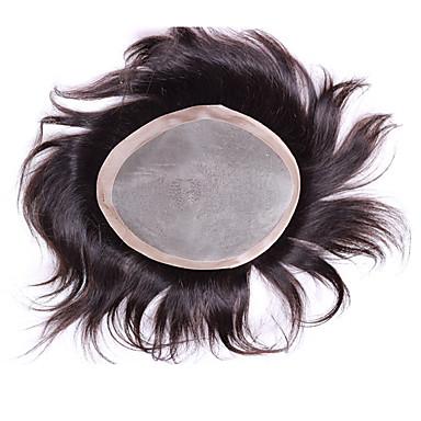 Äkta hår Tupéer Rak Monofilament / 100 % handbundet