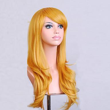 Cosplay Peruker Syntetiska peruker Lockigt Naturligt vågigt Naturligt vågigt Asymmetrisk frisyr Peruk Guld Mellan Lång Gul Syntetiskt hår Dam Naturlig hårlinje Guld