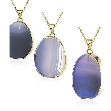 povoljno Modne ogrlice-Žene Kristal Moonstone Ogrlice s privjeskom Ahat Kamen Pozlaćeni Plava Ogrlice Jewelry 1pc Za Party Dnevno