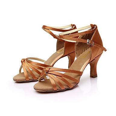 cheap SUN LISA-Women's Dance Shoes Satin Latin Shoes / Salsa Shoes Buckle Sandal Customized Heel Customizable Brown / Gold / Royal Blue / Leather / EU40