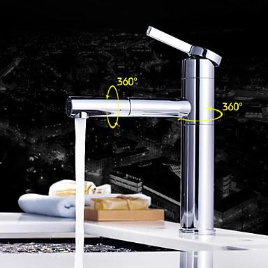 Badrum Tvättställ Kran - Utdragbar dusch / Roterbar Krom Horisontell montering Singel Handtag Ett hålBath Taps