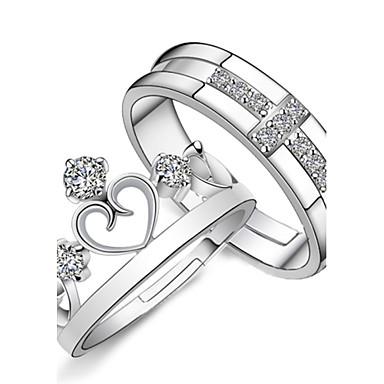 Par Parringar Förlovningsring vikla ringen 2pcs Silver Sterlingsilver Bergkristall Silver damer Mode Brudkläder Bröllop Party Smycken Kors Hjärta Krona Justerbar