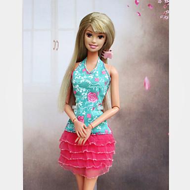 Dollklänning Ledigt För Barbie Syntetiskt garn Elastiskt vävd siden Bommulstyg Klänning För Flicka Dockleksak