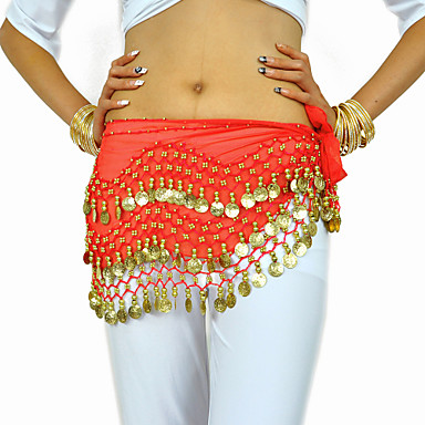 cheap Dancewear & Dance Shoes-Belly Dance Hip Scarf Coin Beading Women's Training Chiffon / Performance