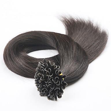 povoljno Ekstenzije za kosu-PANSY Ekstenzije s U vrhom Proširenja ljudske kose Ravan kroj Ljudska kosa Brazilska kosa Crna