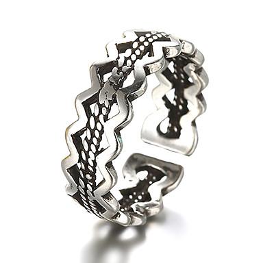 Unisex Bandring Justerbar ring tumring Silver Sterlingsilver Silver Vintage Dagligen Casual Smycken Knivkant