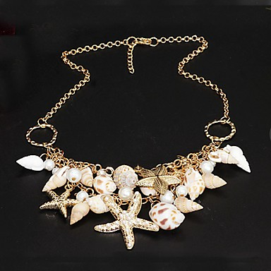 cheap Designer Jewelry-Women's Pearl Statement Necklace Star Starfish Ladies Unique Design Double-layer Fashion Pearl Shell Cowrie Shell Golden Necklace Jewelry For Party Special Occasion Daily Beach