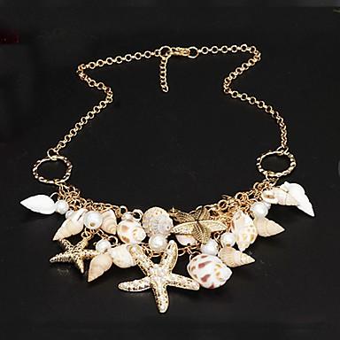 levne Dámské šperky-Dámské Perla Prohlášení Náhrdelníky Yıldız Mořská hvězdice dámy Jedinečný design Dvojitá vrstva Módní Perly Mušle Cowrie Shell Zlatá Náhrdelníky Šperky Pro Párty Zvláštní příležitosti Denní Plážové