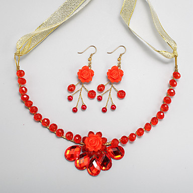 cheap Jewelry Sets-Red Crystal Earrings Jewelry Red For Wedding Engagement / Necklace