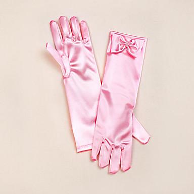preiswerte Handschuhe für die Party-Satin Opernlänge Handschuh Blumenmädchen Handschuhe Mit Schleife