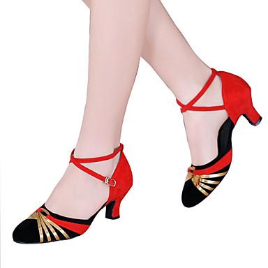 preiswerte Standardtanzschuhe & Modern Dance Schuhe-Damen Tanzschuhe Samt Schuhe für den lateinamerikanischen Tanz Paillette / Applikationen / Glitter Sandalen / Absätze Kubanischer Absatz Keine Maßfertigung möglich Schwarz und Rot / Schwarz-Splitter