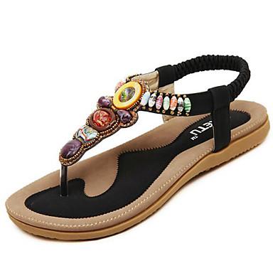 levne Dámské sandály-Dámské Sandále s plochým paty Rovná podrážka Koženka Pohodlné Léto Béžová / Modrá / Růžová