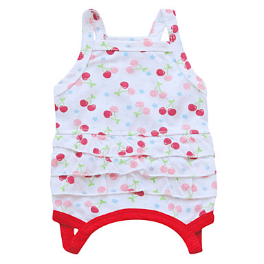Katt Hund Klänningar Hundkläder Andningsfunktion Vit Grön Röd Kostym Cotton Blommig Botanisk Mode XS S M L
