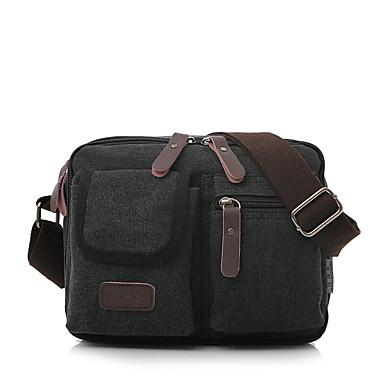 cheap Men's Bags-Men's Canvas Shoulder Messenger Bag Canvas Bag Coffee / Green / Khaki