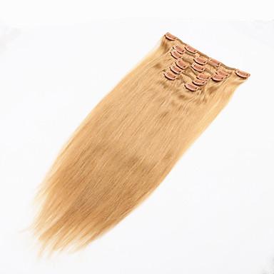 Klämma in Människohår förlängningar Rak Äkta hår Brasilianskt hår Blekt Blont