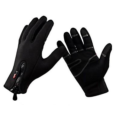 povoljno Biciklističke rukavice-Zima Biciklističke rukavice biciklom na cesti Vjetronepropusnost Prozračnost Ugrijati Anti-Slip Cijeli prst Aktivnost / Sport Rukavice Runo Crn za Odrasli Skijanje Pješačenje Jahanje Patent-zatvarač
