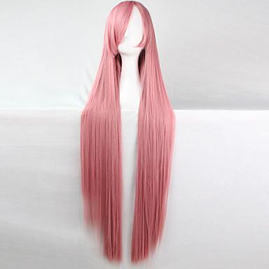 Syntetiska peruker / Kostymperuker Rak Kardashian Stil Asymmetrisk frisyr Utan lock Peruk Rosa Rosa Syntetiskt hår Dam Naturlig hårlinje Rosa Peruk Lång