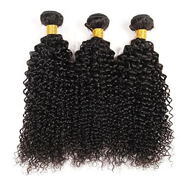 povoljno Ekstenzije od ljudske kose-3 paketa Brazilska kosa Kinky Curly Kovrčavog tkanja Virgin kosa Ljudske kose plete Priroda Crna Isprepliće ljudske kose Rasprodaja Proširenja ljudske kose / 10A
