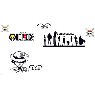 8 18 Anime One Piece Family Monkey D Luffy Wall Stickers Cartoon Pvc Bedroom Room Skull Wall Decals