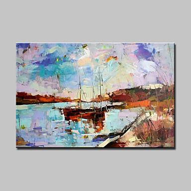 Hang målad oljemålning HANDMÅLAD - Abstrakta landskap Moderna Med Ram