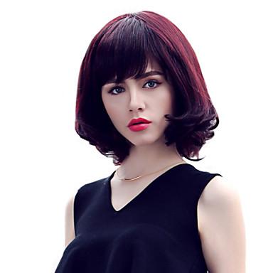 Human Hair Capless Wigs Human Hair Wavy Layered Haircut Bob Haircut Bangs Short Capless Wig Women's