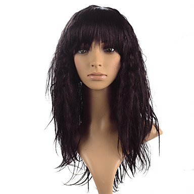 cheap Beauty & Hair-Synthetic Wig kinky Straight Style With Bangs Lace Front Wig Long Black Brown Fuxia Synthetic Hair Women's Heat Resistant Black Brown Wig