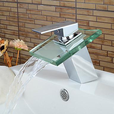 Badrum Tvättställ Kran - Vattenfall Krom Centerset Singel Handtag Ett hålBath Taps / Mässing