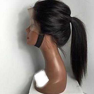 Äkta hår Obehandlat Mänsligt hår Helnät utan lim Halvnät utan lim Hel-spets Peruk Med hästsvans stil Brasilianskt hår Rak Kinky Curly Peruk 130% Hårtäthet med babyhår Naturlig hårlinje Dam Korta