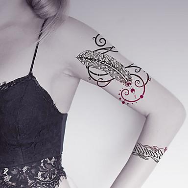 2 pcs Tatueringsklistermärken tillfälliga tatueringar Totemserier / Djurserier / Blomserier Body art Ansikte / Kropp / händer