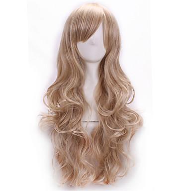 Syntetiska peruker Kostymperuker Kroppsvågor Kroppsvågor Med lugg Peruk Blond Lång Blond Syntetiskt hår Dam Sidodel Blond