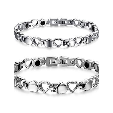 voordelige Herensieraden-Heren Dames Armbanden met ketting en sluiting Hart Liefde Dames Titanium Staal Armband sieraden Zilver Voor Kerstcadeaus Bruiloft Dagelijks Causaal Maskerade Verlovingsfeest