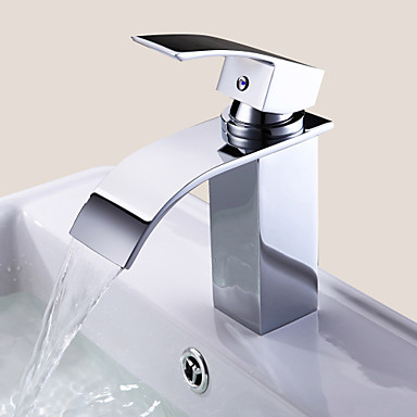 Bathroom Sink Faucet Waterfall Chrome Centerset One Hole