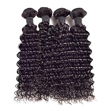 4 paket Malaysiskt hår Lockigt Curly Weave Obehandlad hår Human Hår vävar 8-26 tum Hårförlängning av äkta hår Människohår förlängningar / 10A