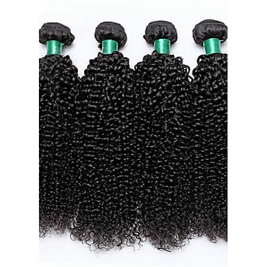 povoljno Ekstenzije od ljudske kose-4 paketića Brazilska kosa Kinky Curly Virgin kosa Ljudske kose plete Isprepliće ljudske kose Proširenja ljudske kose / 10A