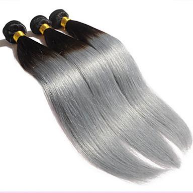povoljno Ekstenzije od ljudske kose-3 paketa Brazilska kosa Ravan kroj Virgin kosa Ombre Ombre Isprepliće ljudske kose Proširenja ljudske kose / 10A