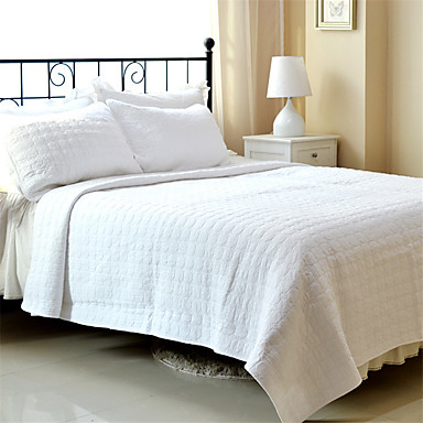 "cheap Bed Pillows-3PC Quilt Sets Full Cotton Pure White Jacquard 92""W*106""L"