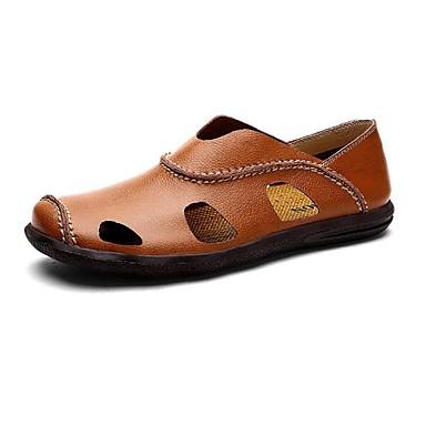 Hombre Zapatos Cuero Primavera / Verano Confort Sandalias Agua Blanco / Negro / Marrón Claro pbsDbVKPI