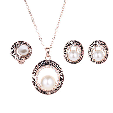 cheap Jewelry Sets-Women's Ladies Imitation Pearl Rhinestone Rose Gold Plated Earrings Jewelry Golden For Wedding Party Daily / Rings / Necklace
