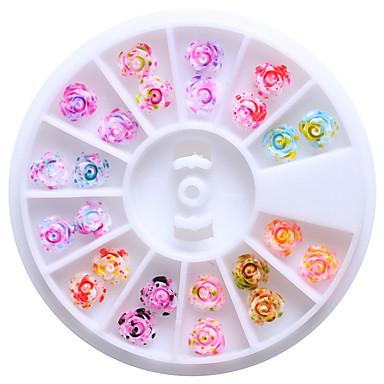 12 färger 6mm harts ros blommor 3d nail art dubbar tips glitter diy hjul blom- design dekorationer för naglar