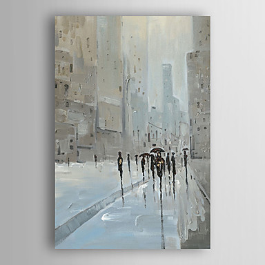 108 11 Hand Painted Oil Painting Landscape People Walking City Street With Stretched Frame 7 Wall Arts