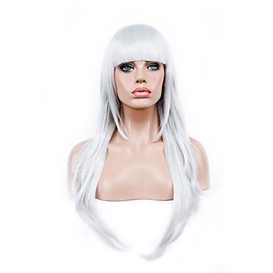 Syntetiska peruker Kostymperuker Rak Rak Peruk Lång Vit Syntetiskt hår Dam Vit