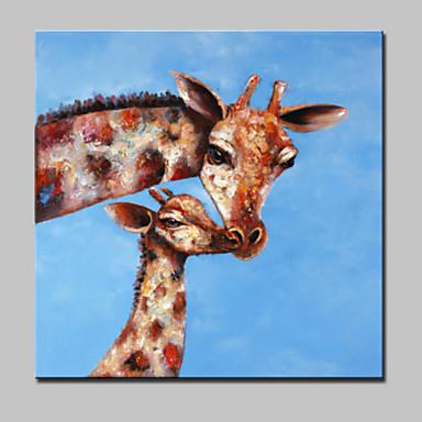 Hang målad oljemålning HANDMÅLAD - Djur Moderna Med Ram