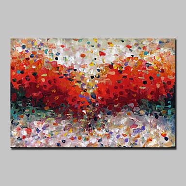Hang målad oljemålning HANDMÅLAD - Abstrakt Moderna Med Ram / Sträckt kanfas