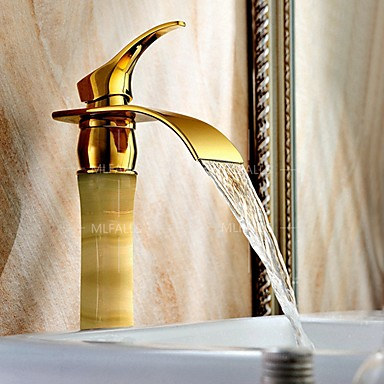 Badrum Tvättställ Kran - Vattenfall Ti-PVD Centerset Singel Handtag Ett hål