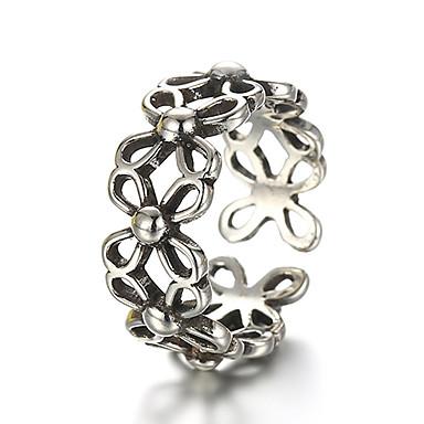 billige Motering-Unisex Band Ring Justerbar ring tommelfingerring Sølv Sølv damer Uvanlig Unikt design Daglig Avslappet Smykker Blomst