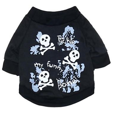 Katt Hund Dräkter / Kostymer T-shirt Hundkläder Dödskalle Svart Cotton Kostym Till Vår & Höst Sommar Herr Dam Cosplay Mode Halloween
