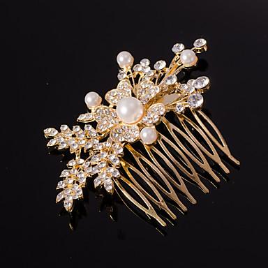 povoljno Nakit za kosu-srebro / zlato list oblik kristala biser kosu češljevi za svatove dama