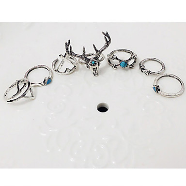 billige Motering-Dame Ring Ringer Set Midi Ring 7pcs Sølv Legering Geometrisk Form damer Uvanlig Unikt design Fest Daglig Smykker geometriske stables Rådyr Dyr