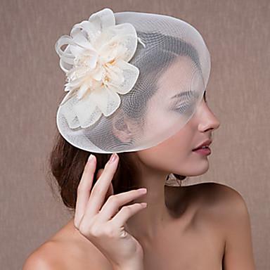 Tyll / Spets / Fjäder fascinators / Huvudbonad med Blomma 1st Bröllop / Speciellt Tillfälle Hårbonad