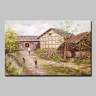 Hang målad oljemålning HANDMÅLAD - Abstrakt Landskap Människor Moderna Med Ram